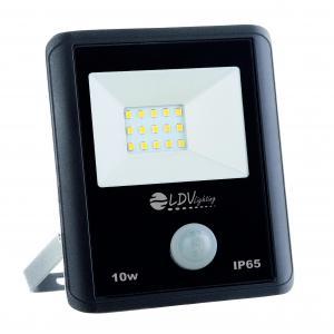 PROYECTOR LED SMD 10w 900lm 120º 6000K IP65 NEGRO C/SENSOR