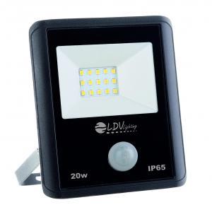 PROYECTOR LED SMD 20w 1800lm 120º 6000K IP65 NEGRO C/SENSOR